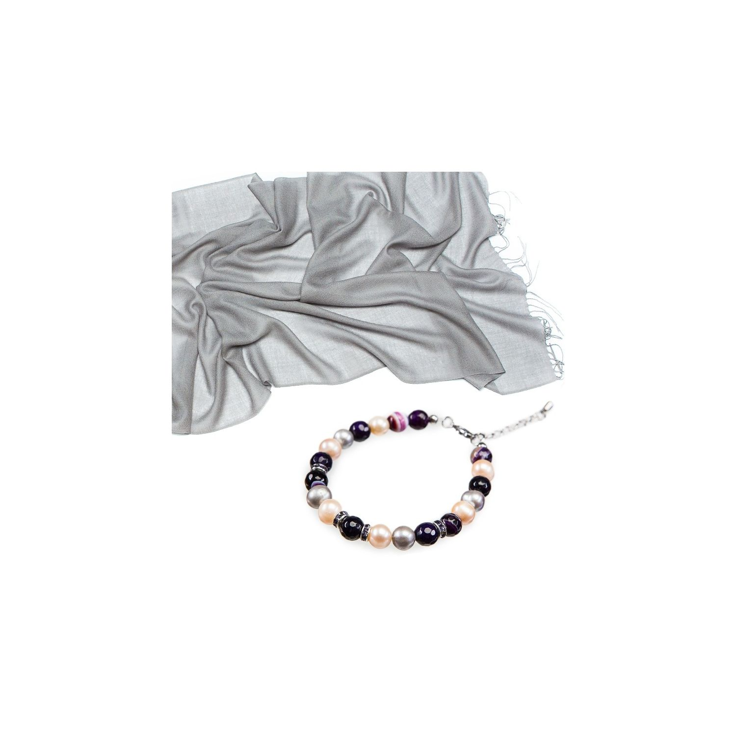 GIFT: Mila Schon gray wool scarf and purple lace agate bracelet