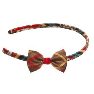 London Rush bow headband on red