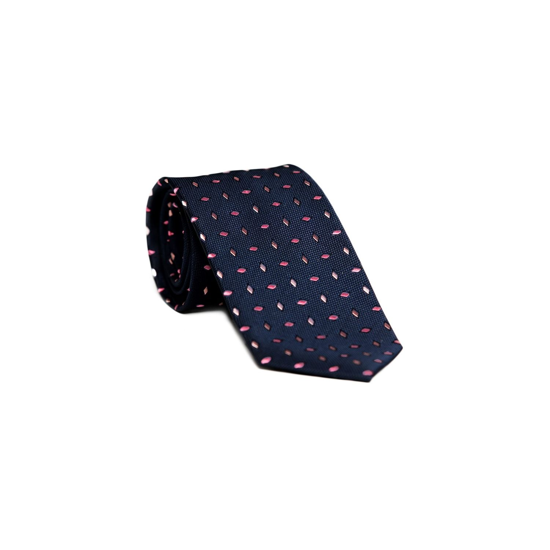 Cravata matase Laura Biagiotti navy cu model mic magenta