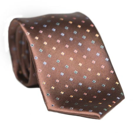 Laura Biagiotti silk tie brown micro pattern