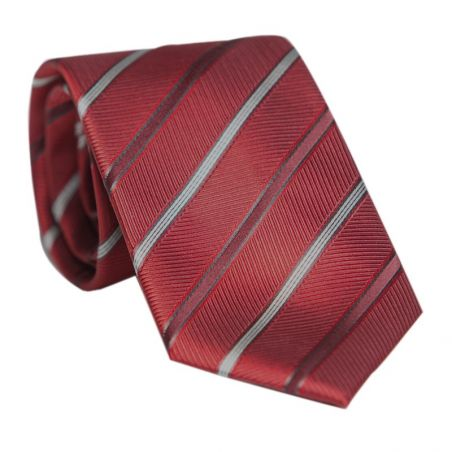 Laura Biagiotti silk tie bordo with silver striped