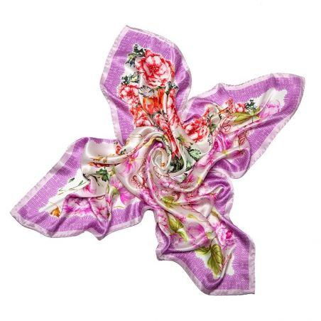 Silk Scarf Delicate Flowers pink