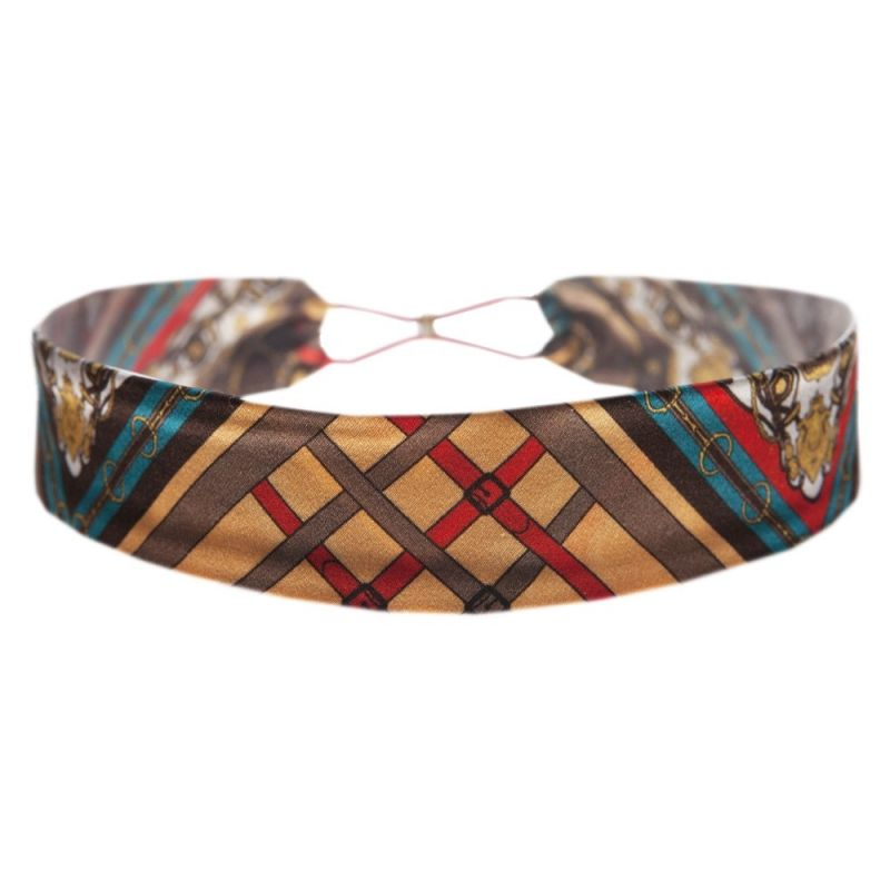 Headband cu elastic London Rush fond roşu