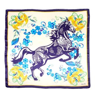 Silk Scarfa Marina D'Este Blue horse