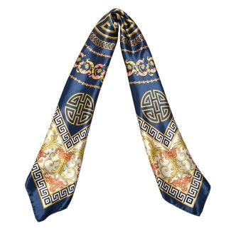 Silk Scarf Marina D'Este Greek key navy