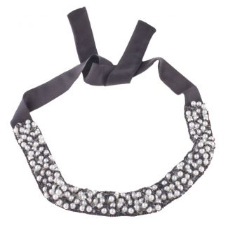 Black & white pearls headband