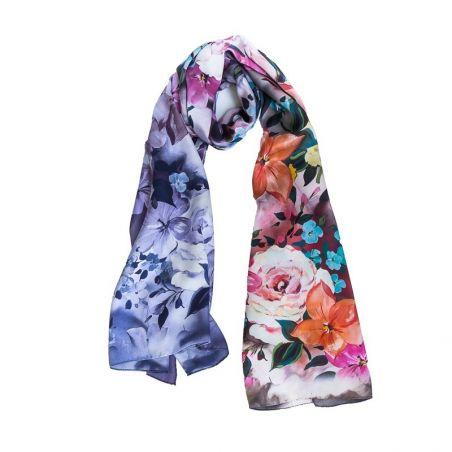 Laura Biagiotti Shawl little silk flowers corai indigo and silver earrings amethyst My Way
