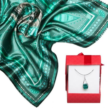 GIFT: Mila Schon silk scarf Posh Green and silver pendant with Swarovski Emerald