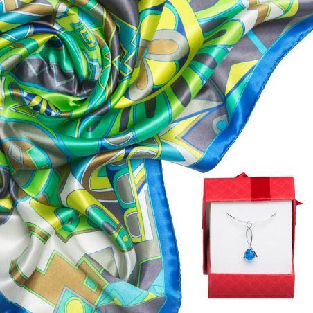 GIFT: Laura Biagiotti silk scarf Kisse from Capri ocean and silver pendant with Swarovski Capri Blue