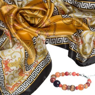 GIFT: Silk scarf Greek Key Marina D'Este orange caramel and rose quartz bracelet