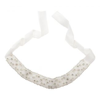 Silk white headband with rhinestone appliqué