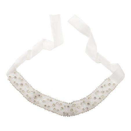 Silk white headband with rhinestone appliqué