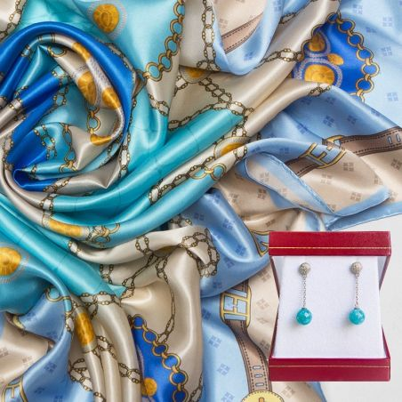 GIFT: Mila Schon silk scarf Timeless Blue and turquoise silver earrings My Way