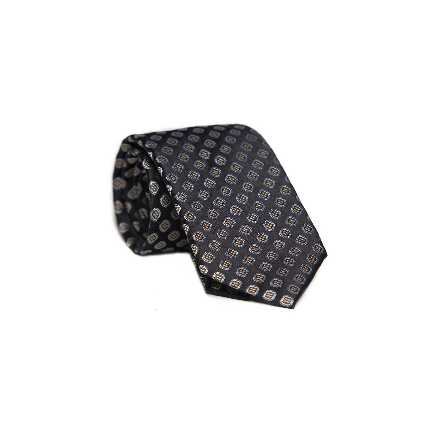 L. Biagiotti round tie black pattern Celebration