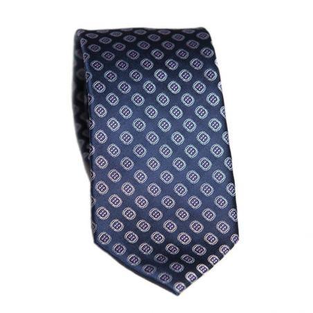 Cravata matase L Biagiotti cu model pe navy Celebration
