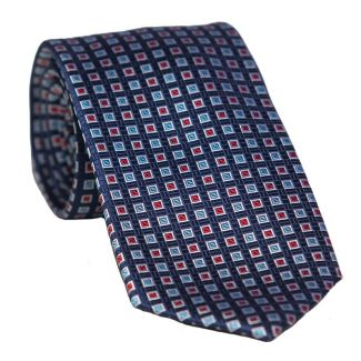 L. Biagiotti red silk tie blue squares Executive