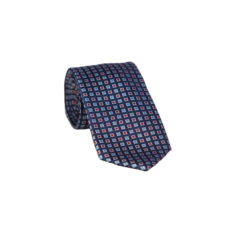 Cravata L Biagiotti patrate rosu pe navy