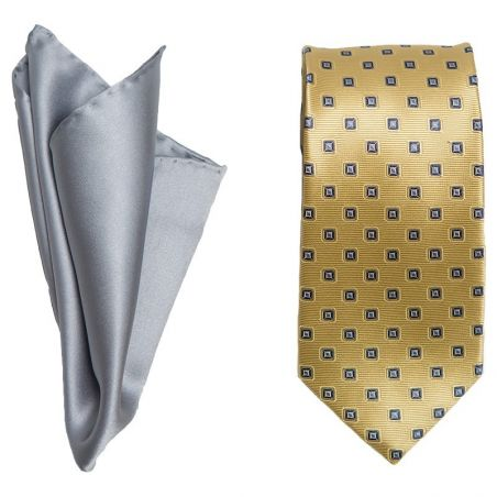 Gift: Silk Tie L.Biagiotti yellow lemon and grey pocket