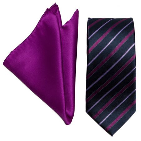 Gift: Silk tie L. Biagiotti magenta thin stripes Executive and magenta pocket