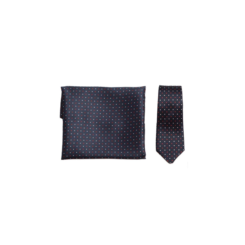 CADOU:Set esarfa si cravata matase L. Biagiotti navy red dots