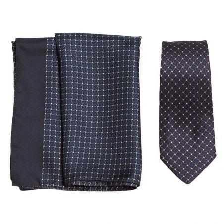 Gift: L Biagiotti silk scarf and neck-tie navy vitraliu