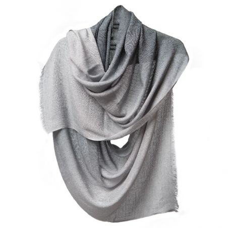 Gradient gray lurex shawl