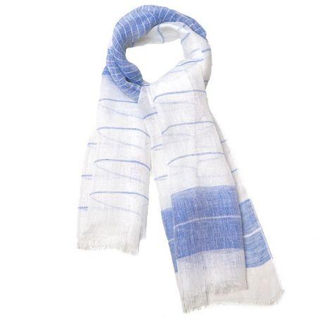 Sal in alb cu albastru