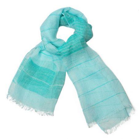 White-turcoise flax shawl