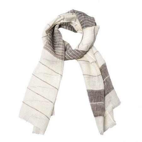 Beige-cappucino flax shawl