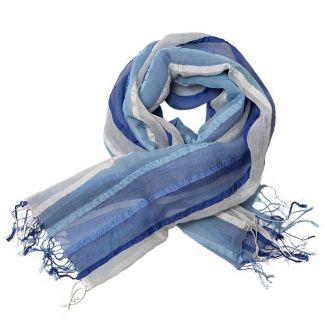 Sal matase si bumbac white-blue stripes