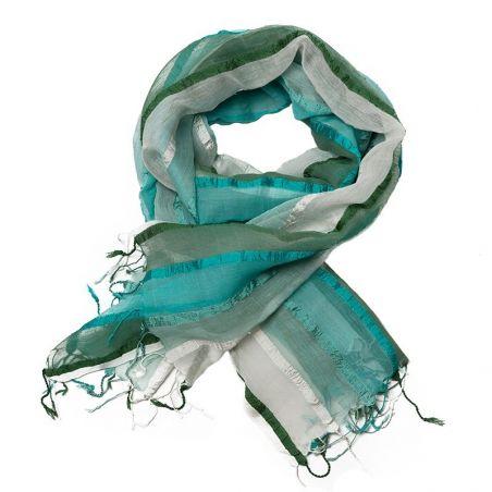White-green stripes silk-cotton shawl