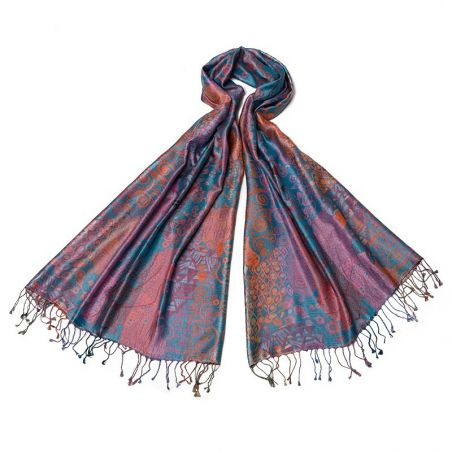 Silk jaquard Shawl Marina D Este paisley turcoise