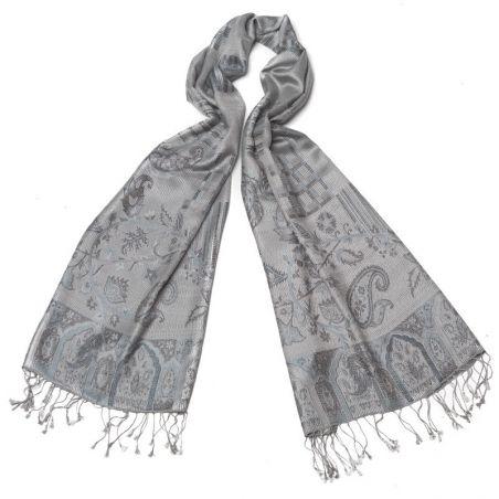 Silk jaquard Shawl Marina D Este paisley blue-gray