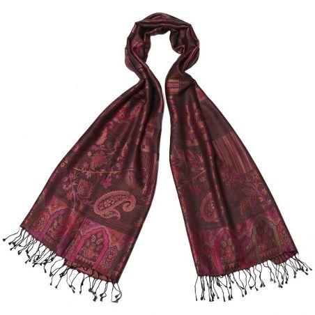 Silk jaquard shawl Laura Biagiotti paisley burgundy