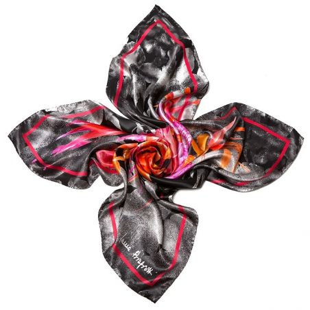 Silk Scarf L. Biagiotti black Exotique