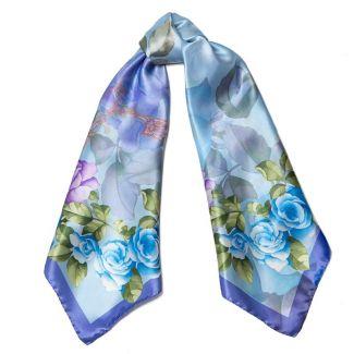 Esarfa matase L. Biagiotti  Delicate Roses blu