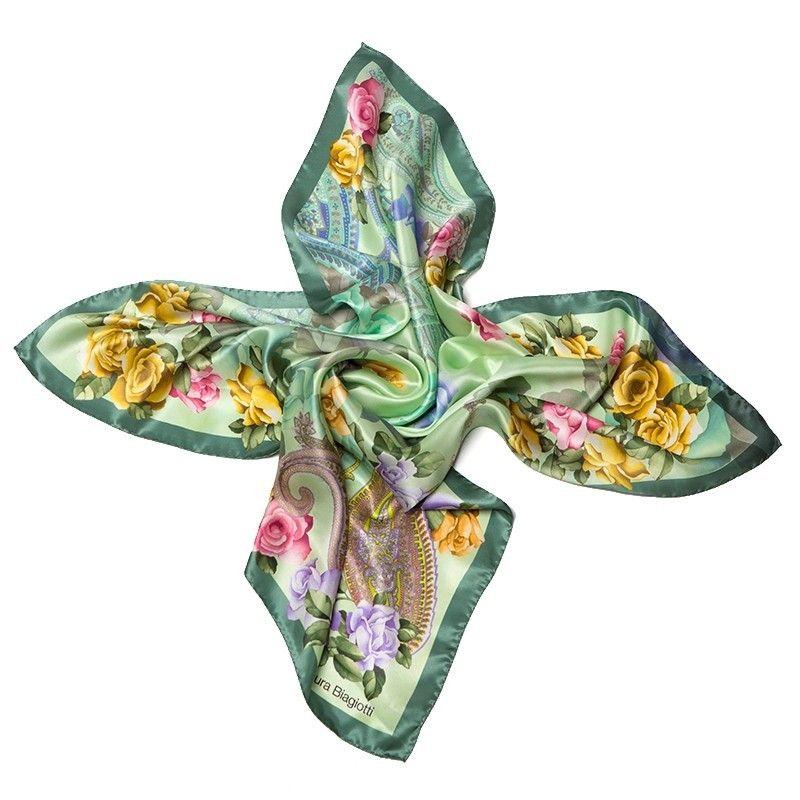 Esarfa patrata L. Biagiotti  Delicate Roses green