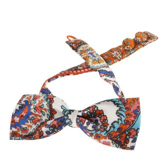 Etro printed silk orange bow tie