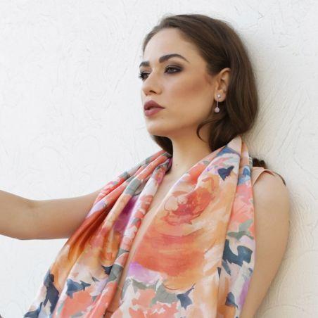 Silk Shawl Laura Biagiotti roses corai