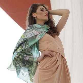 Silk Shawl Mila Schon green hydrangeas