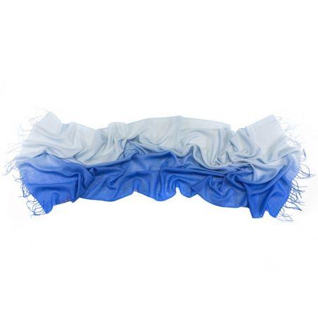 Esarfa lana si casmir Mila Schon 2 tones blue