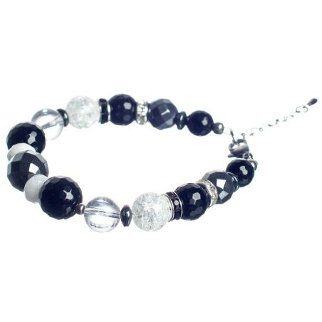 GIFT: Laura Biagiotti scarf and bracelet black onyx and crystal abstract ice