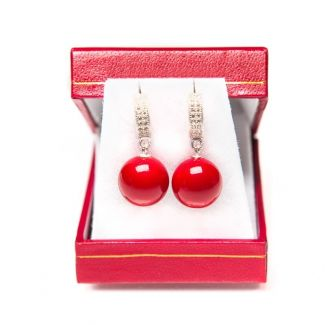 GIFT:Silk Scarf Marina D`Este I love you red and silver earrings red coral