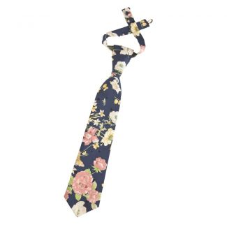 Pink roses necktie on blue