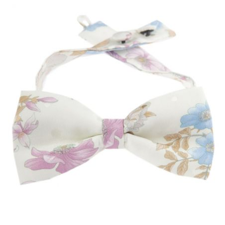 Baby blue and pink roses bow tie