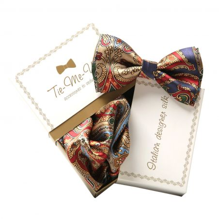 Gift: Natural silk bow tie and handkerchief My Privilege