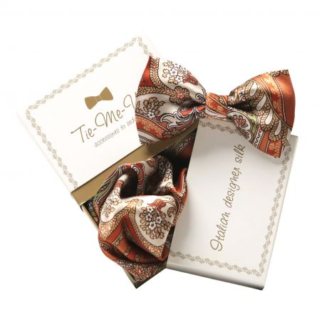 Gift: Natural silk bow tie and handkerchief My Privilege Ginger