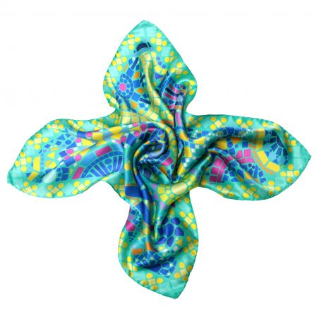 Streets of Mind Turcoise Silk Scarf