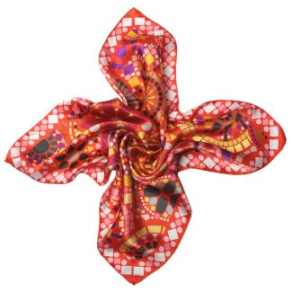 Streets of Mind Red silk scarf