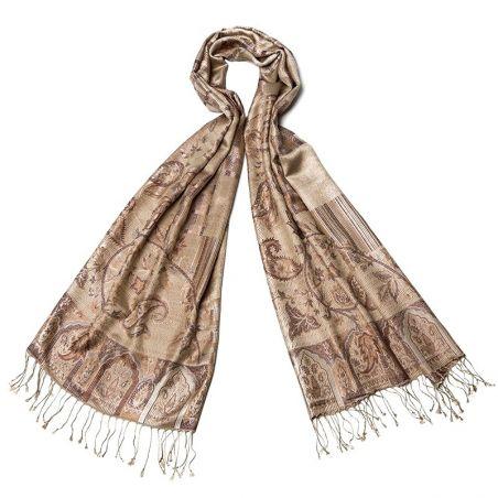 Silk jaquard shaw L. Biagiotti paisley jaquard beige